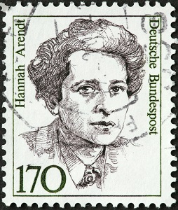German postage stamp featuring Hannah Arendt, German philosopher and writer
